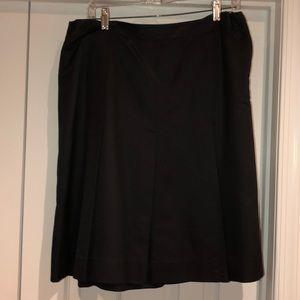 Black silk pleated skirt with side zipper
